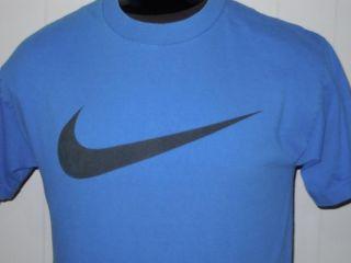 Nike Big Swoosh Blue Sport Logo Athletic Loose Fit T Shirt M Free SHIP