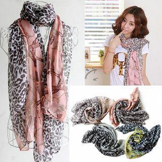 Women Lady Leopard Print Long Scarf Wrap Cotton Shawl Muffler Scarves Wraps T35