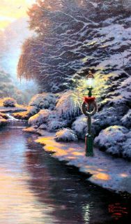 Christmas Evening 18x24 P P Framed Limited Thomas Kinkade Canvas Oil Paintings