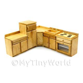 5 Piece Oak Kitchen Set Dolls House Furniture FRS7
