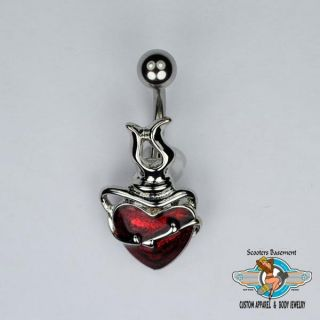 Sacred Heart Belly Ring Bar Shimmery Heart and Barbed Wire Navel Ring 14g A20