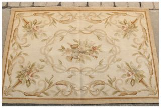 """Free SHIP 2'3"""" x 4'8 Antique French Aubusson Area Rug Runner Mat Hand Woven"""