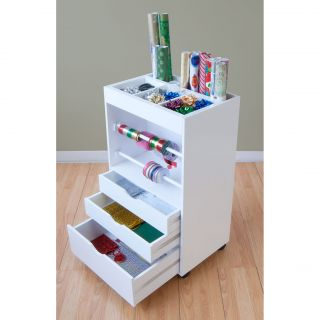 New White Wrapping Storage Container Cart 3 Drawer Gift Wrap Paper Box Organizer