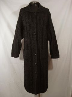 Inis Crafts Irish Ireland Aran L Gray Wool Long Duster Cardigan Sweater Coat