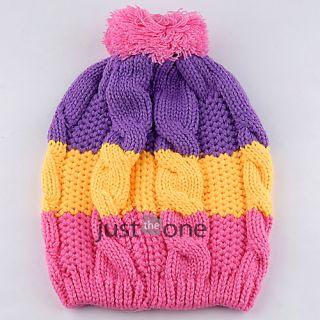 Bright Colors Cute Baby Child Kids Girls Boy Stretchy Warm Winter Cap Hat Beanie