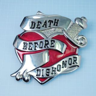 A478 Death Before Dishonor Heart Sword Huge Belt Buckle Rock Punk Men Women