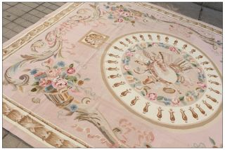 Subtle Pastel Blue Aubusson Area Rug Vibrant Rose French Wool Woven Free SHIP