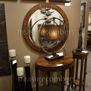 Large Round Beveled Wall Mirror Zebrano Wood Bathroom