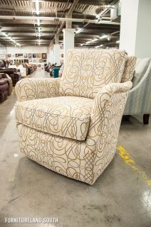 Huntington House Furniture White Swirl Patterned Swivel Glider Chair