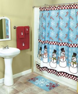 Christmas Snow Man Flake Candy Cane Bathroom Shower Curtain Hooks Bath Rug