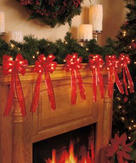10ft Red Bow Garland Light Mantel Fireplace Christmas Tree Banister Railing Home