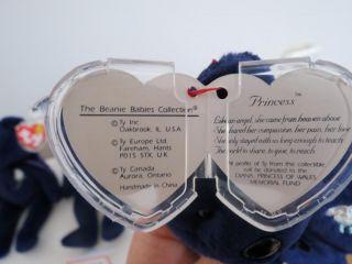 1997 1st Edition RARE Princess Diana Beanie Baby Ty Bear PVC PE Indonesia China