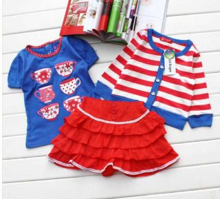 Hot Baby Girls Clothing Printed Blue Top Shirt Skirt Cardigan 3pcs Outfit