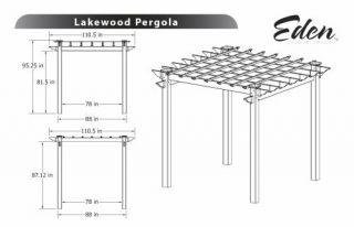New England Arbors Decorative Lakewood Wood Grain Vinyl Garden Patio Spa Pergola