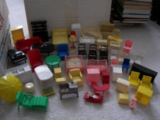 ... Vintage Lot Of 55 Plastic Miniature Doll House Furniture Marx ...