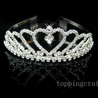 Swarovski Crystal Heart Crown Comb Headband Tiara Bridal Jewelry 0034D Hot Sale