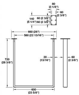 U Shaped Silver Finish Metal Steel Table Furniture Base Office Desk 51031