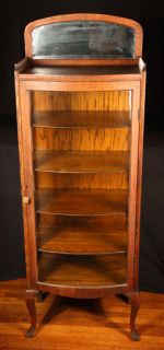 Antique Oak Curved Glass China Cabinet w Beveled Mirror