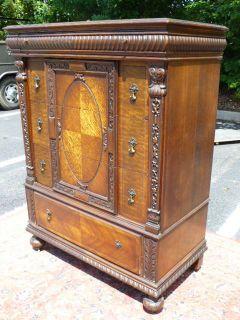 Antique Oak Tudor Jacobean High Chest Dresser Grand Rapids MI Furniture Co