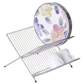 New 2 Tier Steel Folding Dish Rack Fordable x Shape Plates Holder Drainer Stand