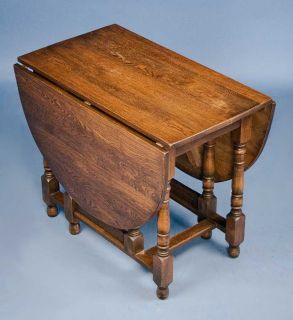 Oak Turned Leg Antique Drop Leaf Gate Leg Table