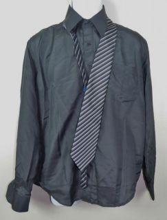 New Aqua Mens Dark Gray Long Sleeve Dress Shirt Tie Size 14 14 5 34 35