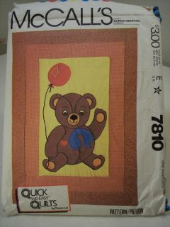 "McCall's 7810 Teddy Bear Quilt Pattern ""Quick and Easy Quilts"" Crib Size Gift"