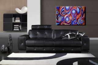 Original Oil Painting Abstract Contemporary Modern Blue Wall House Office Decor