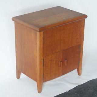 Vintage White Oak Side Table Cabinet