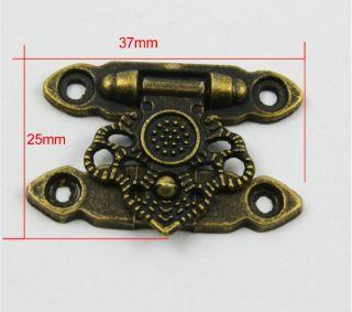 10 Antique Brass Decorative Hasp Jewelry Box Hasp Latch Lock 37x25mm with Screws