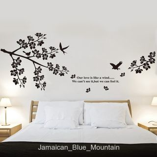 Cherry Tree Branch Bird Love Verse Black Removable Wall Sticker Decal