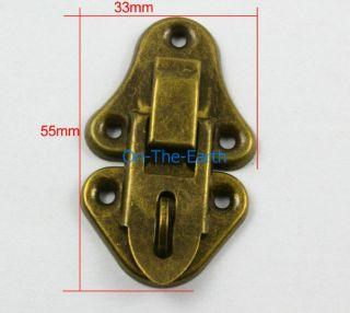 10 Antique Brass Decorative Hasp Jewelry Box Hasp Lock Latch 33x55mm with Screws
