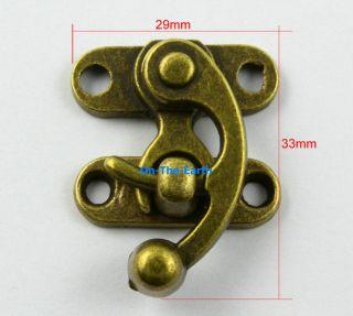 10 Antique Brass Decorative Hasp Jewelry Box Hasp Lock Latch 29x33mm with Screws