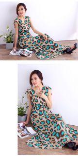 Sexy Ladies Womens Chiffon V Neck Seeveless Leopard Boho Tunic Long Maxi Dress