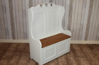 3ft Shabby Chic Pine Monks Bench Pew Painted in Farrow Ball Handmade in UK