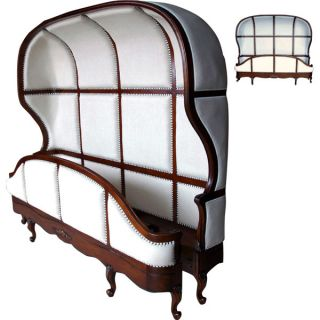 French Canopy King Bed Frame in Solid Mahogany Linen White Cover Nail Trim New