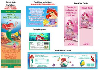 Ariel The Little Mermaid Birthday Party Ticket Invitations Supplies Favors