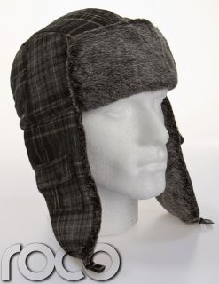 Mens Grey Checkered Chequered Pattern Trapper Hat Warm Russian Ski Winter Hat