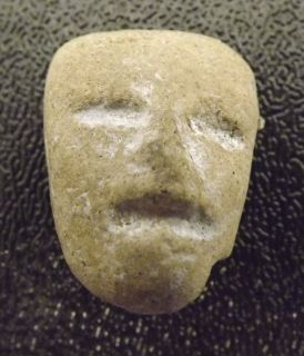 Ancient Head Carved Stone Face Sculpture Maya Aztec Terracotta Pre Columbian