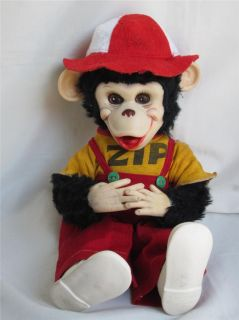 "1950s Zip The Monkey Chimp ""Howdy Doody Show"" Rushton Tagged Free Shipping"