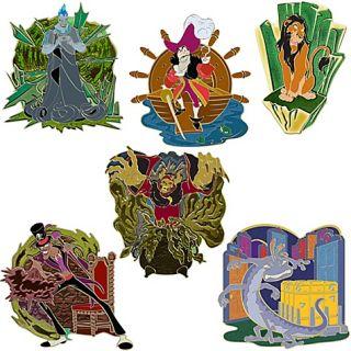 New Disney Trading Pin Villains Boys Club Pin Set 6pc