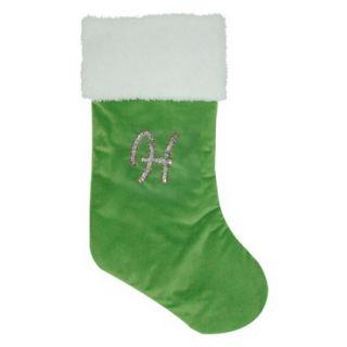 "20"" Sequin Monogram H Plush Stocking Green Christmas Black Friday Sale"