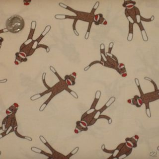 Moda Erin Michael Quilt Fabric 5 Funky Sock Monkeys Sock Monkey Cream New Cotton