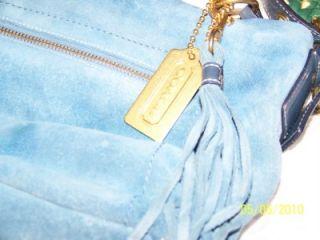 Coach Denim Blue Suede Soho Leather Tassel Tote Shoulder Bag Sleeper Bag