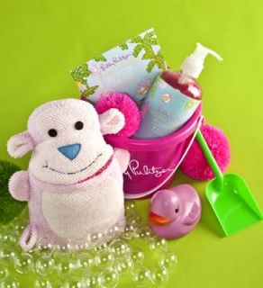 Lilly Pulitzer Baby Pink Duck monkeying Around Bath Set