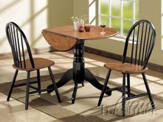 3pc Oak Drop Leaf Round Dining Table 2 Chair Set