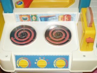 Vintage Fisher Price Fun with Food Kitchen Phone Dishes Food Utensils Dish Rack