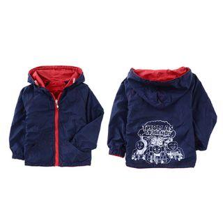 Red Blue Kids Children Baby Boys Girls Tomas Train Reversible Trench Coat C2828