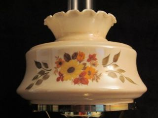 Vintage Hand pained Flowers Rose Brass Hurricane Lamp