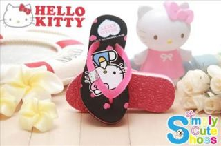 Hello Kitty Girls Beach Slippers Thong Capri Shoes Polka Dot Black 813549